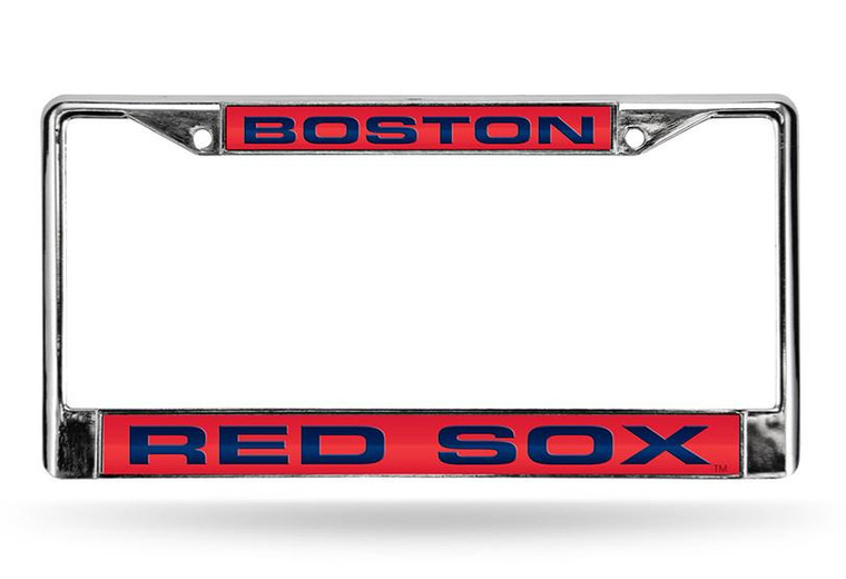 Boston Red Sox Laser Cut Chrome License Plate Frame - Red Background with Blue Letters
