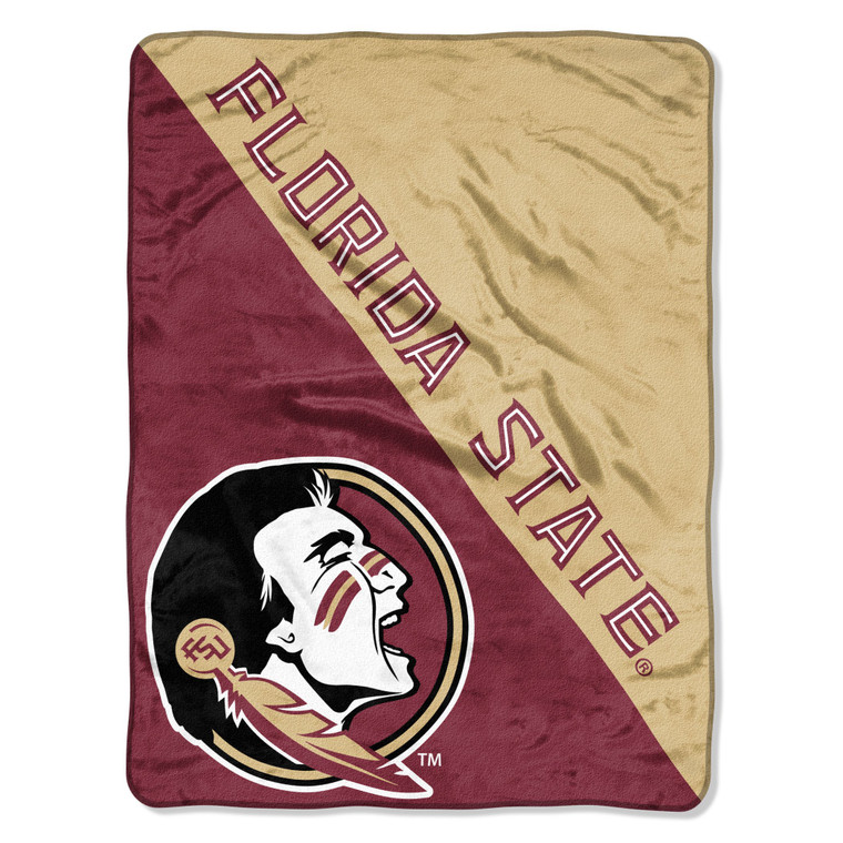 "Florida State Seminoles Micro Raschel Halftone Design Rolled Blanket 46x60"""