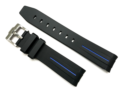 20mm Curved End Rubber Dive Strap Black Color Blue Stripe Fits Rolex Submariner 116610