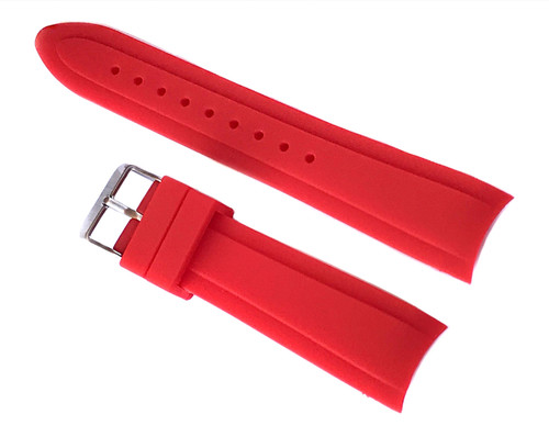 20mm Curved End Rubber Dive Strap Red Color Fits Rolex Explorer II 16570