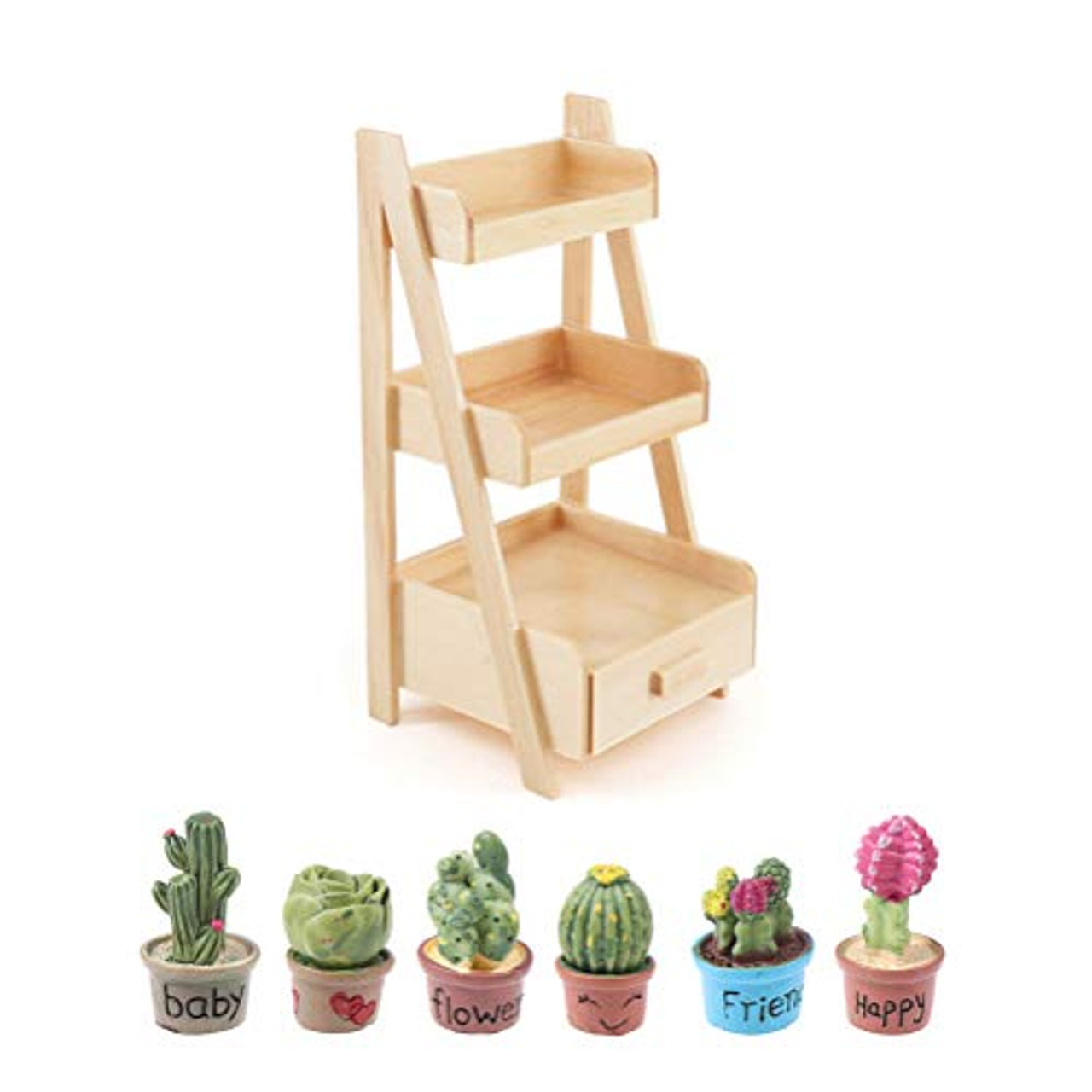 F Haomian Doll House Simulation Flower Stand 1:12 Scale Dollhouse Mini Wood Shelf Flower Stand Doll House Furniture Model Toy Fairy Garden Accessory