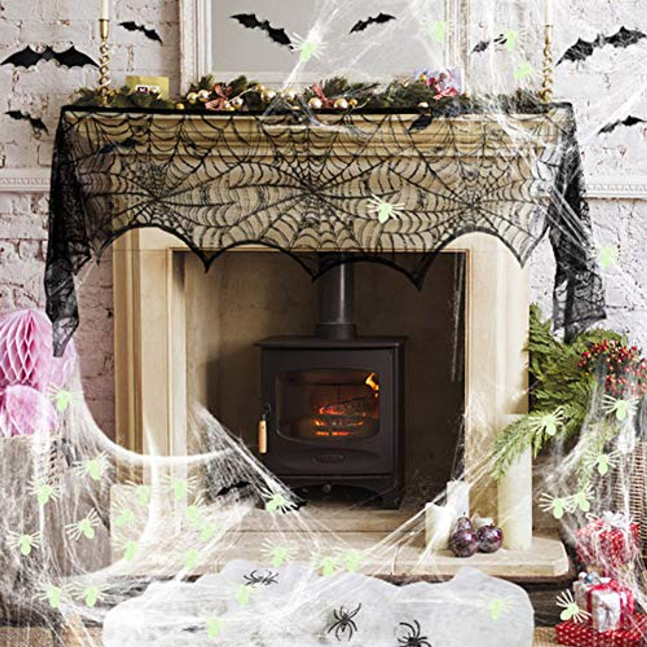 Halloween Decoration Fireplace Mantel Scarf 20 Pcs 3D Scary Bats Wall Stickers Stretch Spider Web Indoor & Outdoor 4 Pcs Fake Black Spiders 50 Pcs