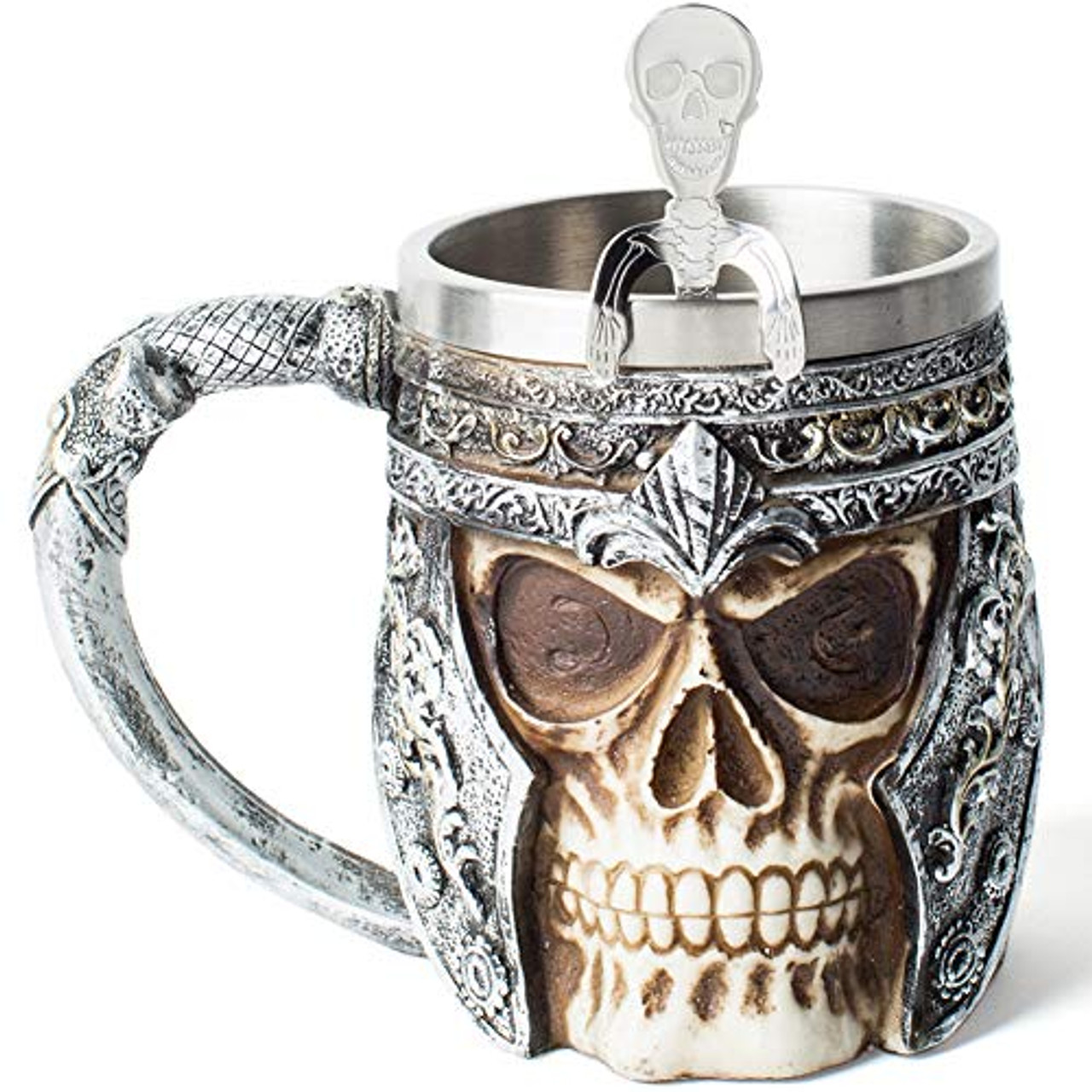 Viking Skull Drinkware Coffee Cup Beer Mug Gifts For Men Stainless Steel Mug Viking Drinking Horn Bar Cup Nordic Gifts For Halloween Christmas And Home Decor Toyboxtech