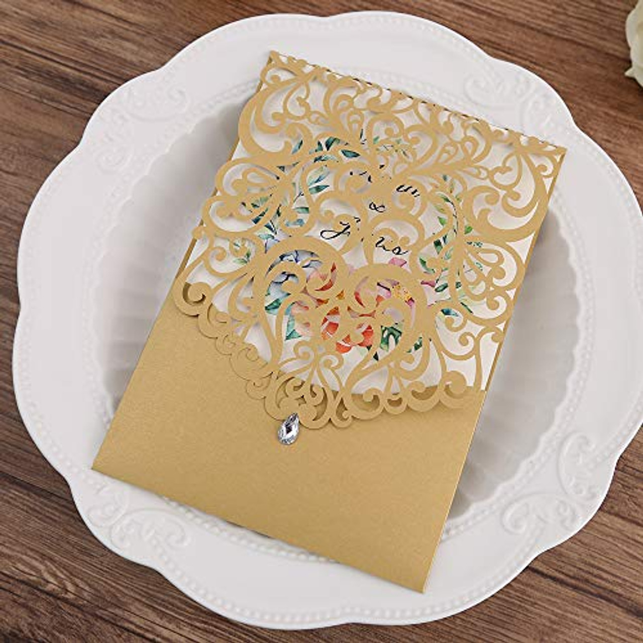 Doris Home 50pcs Vertical Gold Classic Style Wedding Invitations With Rhinestone Cards Kit Custom 50 Toyboxtech