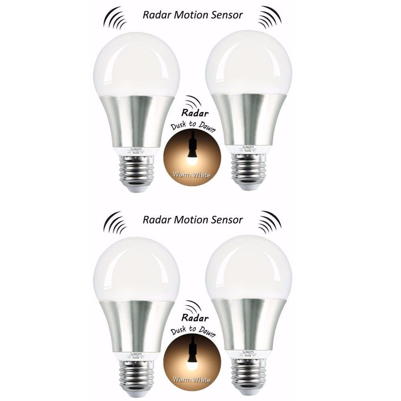 New Luxon Motion Sensor Light Bulb 7w Smart Bulb Radar Dusk To Dawn Led Motion Sensor Light Bulbs E26 Base Indoor Sensor Night Lights Soft White 2700k Outdoor Motion Sensor Bulb Auto