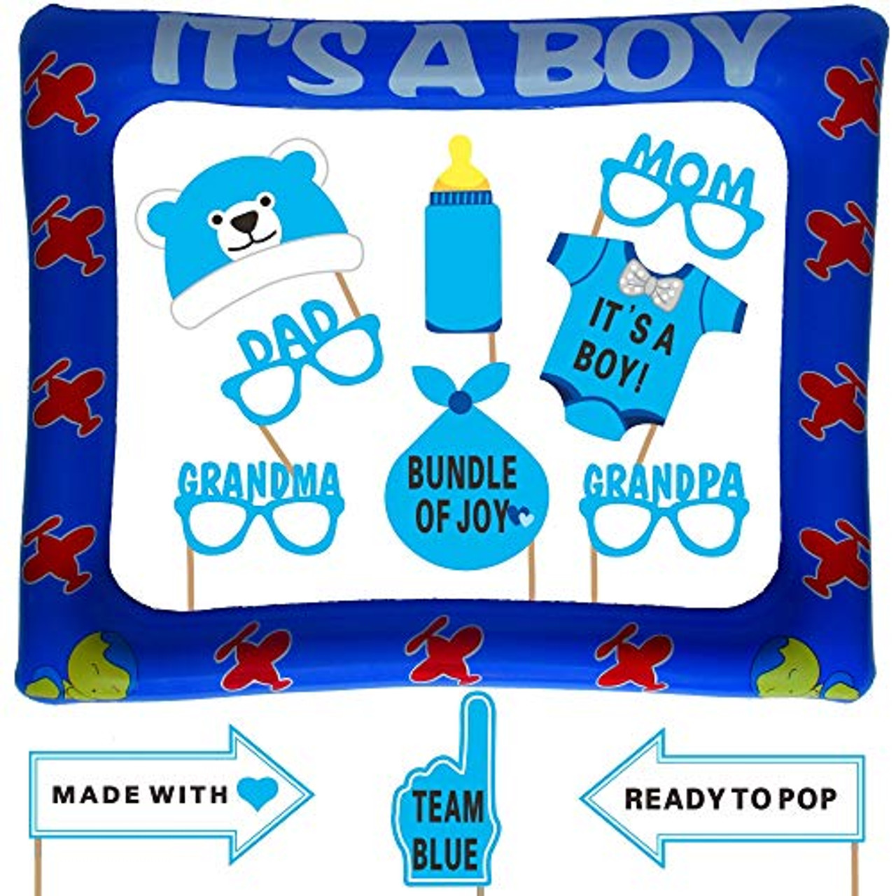 NO DIY REQUIRED Attached to the stick 23 Count Baby Boy Decorations- Extra Large Baby Shower Photo Booth Props with Inflatable Picture Frame Included