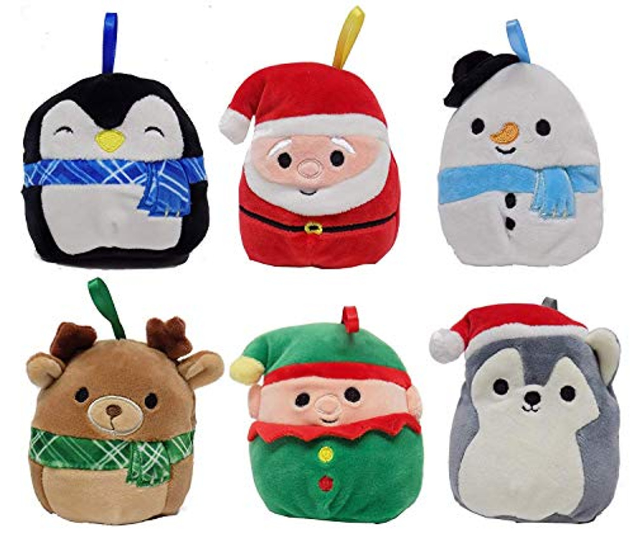 Set A 6 Pack Squishmallows Christmas Holiday Plush Ornaments Set