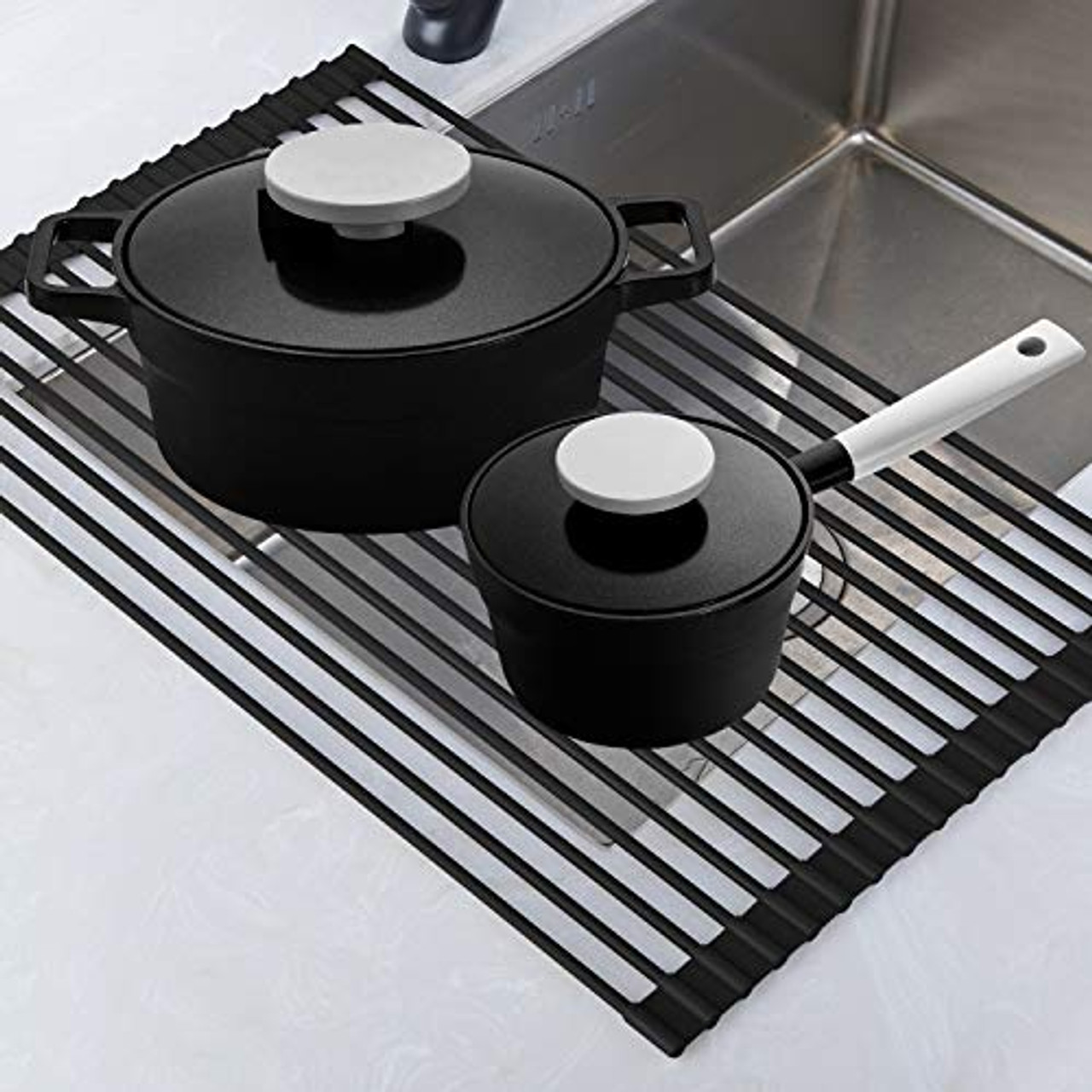 Roll Up Rack Collapsible Dish Drying Rack In The Sink Drying Mat Multipurpose Dish Drainer Rv Dish Drying Rack Fruits And Vegetable Rinser Durable Silicone Covered Stainless Steel Black Teci Tcf001b Toyboxtech