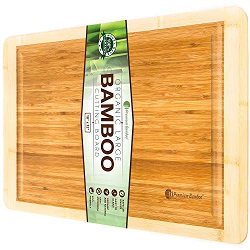 Bamboo Cutting Board with Beautiful White Edges. Measures 18x12 - Large, Thick, and Strong Chopping Board with Deep Drip Groove By Premium Bamboo