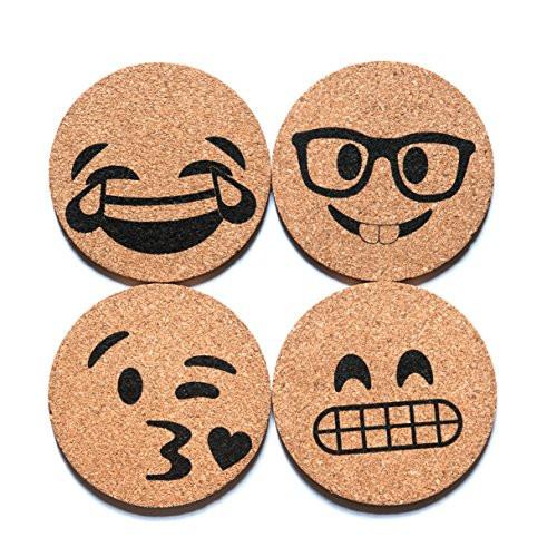Corkologist Emoji Cork Coasters Printed, Set of 4 (Style 2)