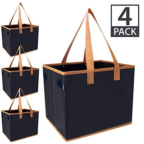 Urban House AUH-SB4BK Large Collapsible Grocery Shopping Tote Box with Reinforced Bottom, 14L x 11W x 11H (Pack of 4), Black with Brown Trim