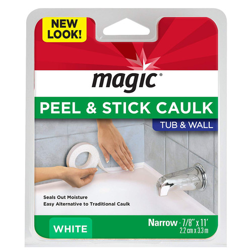 Magic Tub and Wall Peel & Caulk Strip - Create a Tight Seal Between the Bathtub and Wall to Keep Moisture Out - 7/8' by 11' - White