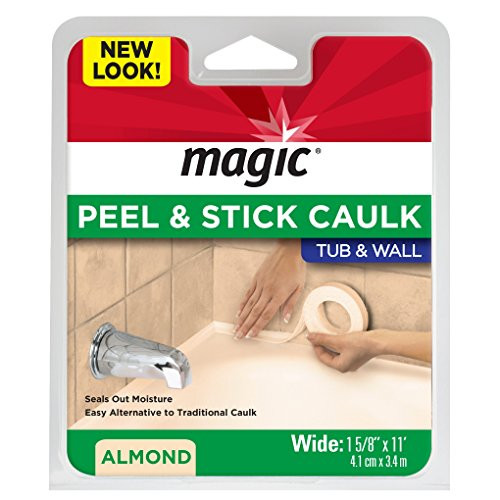 "Magic Tub and Wall Peel & Caulk Strip - Create a Tight Seal Between the Bathtub and Wall to Keep Moisture Out - 1-5/8"" by 11' - Almond"