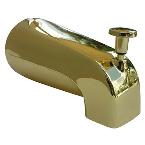 LASCO 08-1059 4 in 1 Fits Most Connection Bathtub Spout with Diverter Style, Polished Brass Finish