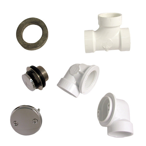 LASCO 03-4947 Bathtub Waste and Overflow Parts with PVC Threaded Elbows San Tee and Strainer, Chrome