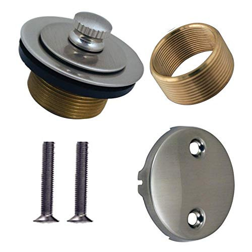 Wood Grip Universal Conversion Kit Bathtub Tub Drain Assembly, All Brass Construction (Satin Nickel)
