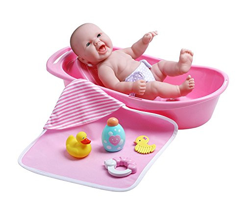 "JC Toys La Newborn Realistic Baby Doll Bathtub Gift Set Featuring 13"" All Vinyl Newborn Doll (8 Piece)"