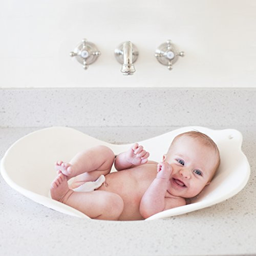 Puj Flyte - Compact Baby Bathtub - Infant, Newborn, 0-6 Months, In-Sink Baby Travel Bathtub, BPA-free, PVC-free (White)