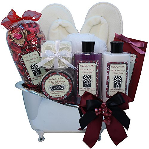 White Mulberry Bathtub Spa Bath and Body Gift Basket Set