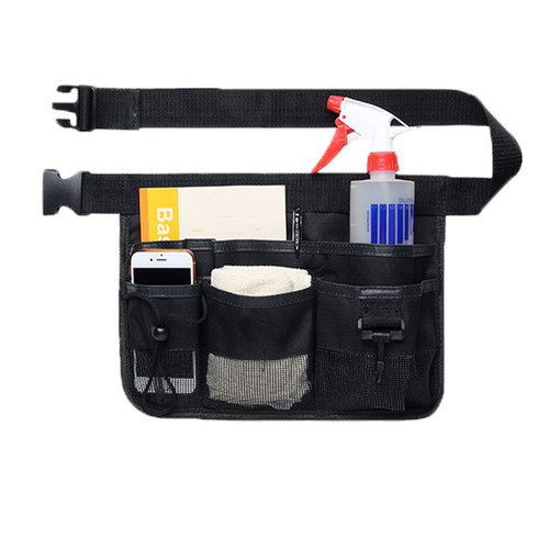 Gardening Tool Waist Bag Belt Heavy Duty Oxford Tool Apron with 7 Pockets of Different Sizes and Depth Black By Geboor