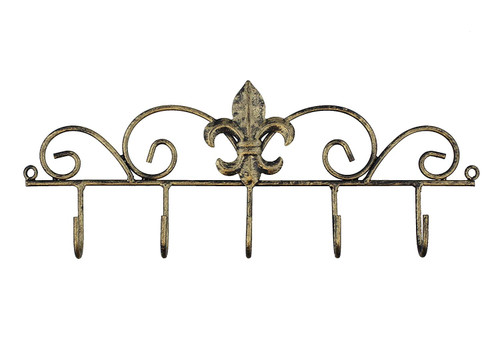 Decorative Fleur De Lis Wall Mounted Metal Hanger - 5 Hook - Keys, Hats, Towels, BBQ or Gardening Tools