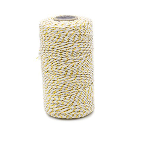 100 M/328 Feet Durable Cotton Bakers Twine String, Heavy Duty Wrapping Baker's Twine, Perfect for Tags Tie, Homemade Art, DIY Craft, Gardening Application (Gold)