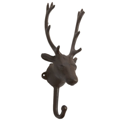Iron Hook with 1 Peg - Deer Head Shaped Decorative Indoor and Outdoor Hook for Household Items, Clothing, Gardening Tools, DIY Equipment