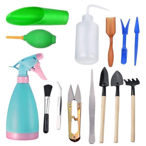 14Pcs Mini Garden Tools Set,Succulent Transplanting Miniature Fairy Garden Planting Gardening Hand Tools Set Include Pruner, Mini Rake, transplanters etc(Color Random)