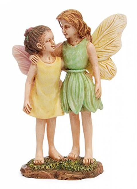 "Marshall Home MG121 Fairy Gardening Miniature Statuary Fairy Sisters, 3-1/2"", Multicolor"