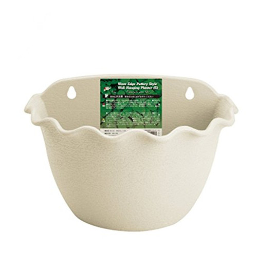 Wall Planter Hanging Resin Flower Plant Pot Indoor or Outdoor Container Gardening Wave Edge Pottery Style(Beige, 3044)