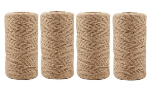 Jute Twine 1312 Feet Natural Arts Crafts Jute Rope Durable Packing String for Gardening Applications(4pcs x 328feet)