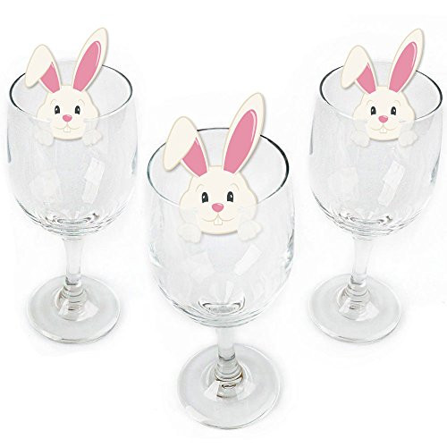 Hippity Hoppity - Shaped Easter Bunny Party Wine Glass Markers - Set of 24