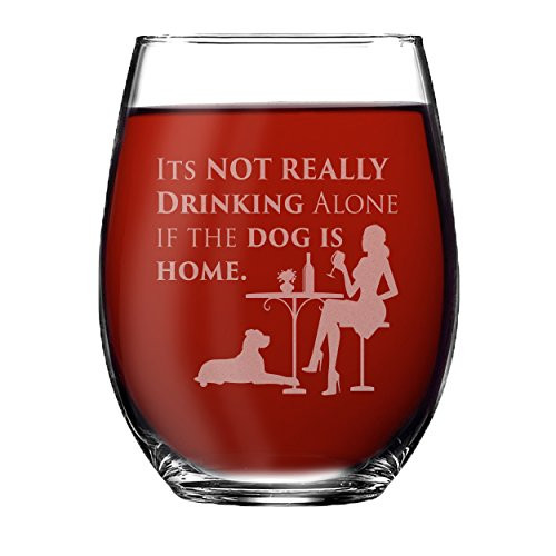 My Personal Memories Fun Wine Glasses Gift for Mom, Wife, Women, Her, Friends - Wine Glass with Funny Sayings (Dog Style - Stemless Wine 15oz)