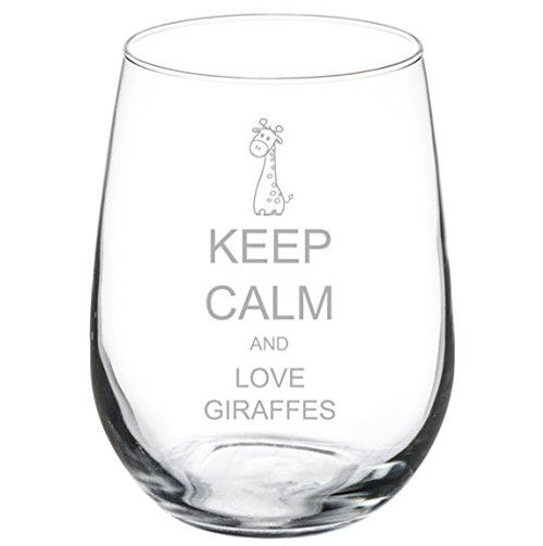 Wine Glass Goblet Keep Calm and Love Giraffes (17 oz Stemless)