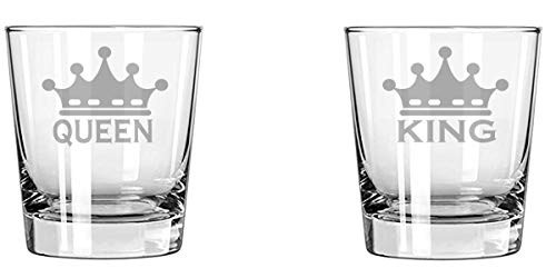 G255 King Queen Wine Glass set 11 oz Rock Glass set 10 oz Gift for couples, Parents, wife husband mother father (Rock Glass 10 oz)