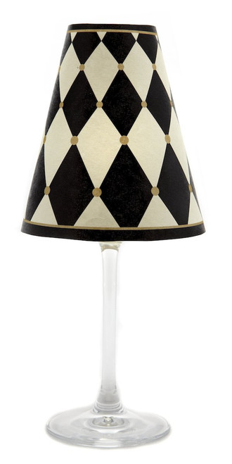 di Potter WS343 Paris Harlequin Paper White Wine Glass Shade, Parchment (Pack of 12)