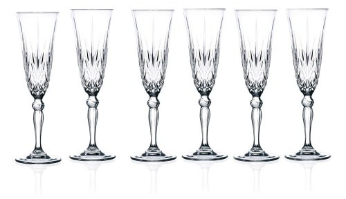 Lorenzo 256000 Lorren Home Trends Crystal Melodia Collection Wine Glass Set By RCR Champagne Flute