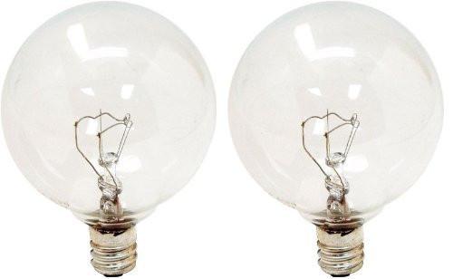 GE Lighting 17722 25 Watt Crystal Clear Vanity Globe Light Bulbs 2 Count
