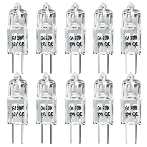 20W G4 Halogen Light Bulbs G4 Bin-Pin base light bulb JC Type 12 Volt Dimmable Soft White 2800k (Pack of 10)