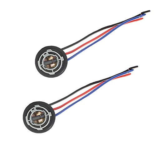 HALOYiVGO 1157 BAY15D P21/5W 2057 2357 Replacement Sockets Adapter Harness Wiring for Brake/Stop/Turn Signal/Tail Light Bulbs ABS + Copper Wire 2pcs