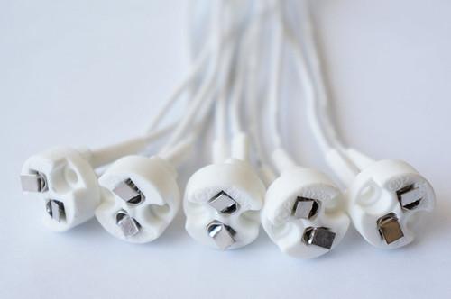 (Pack of 10) Mini Bi-Pin Socket Holder up to 100 Watts Ceramic Body for LED Halogen Light Bulbs with Base GU5.3, G4, MR11, MR16