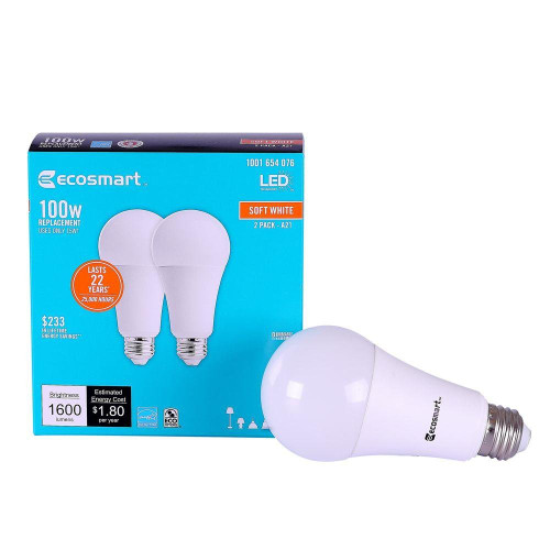 EcoSmart 100W Soft White 2700K A19 Dimmable LED Light Bulbs 1600 Lumens each (2-Pack)