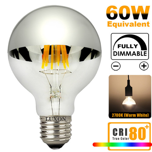 Half Chrome Light Bulb Dimmable LED Edison Bulb Silver Bowl Tipped Light Bulbs 6W (60W Equivalent) G80/G25 Globe Round Mirror Vintage Vanity Decorative Light Bulb E26 Medium Base Warm White 2700K
