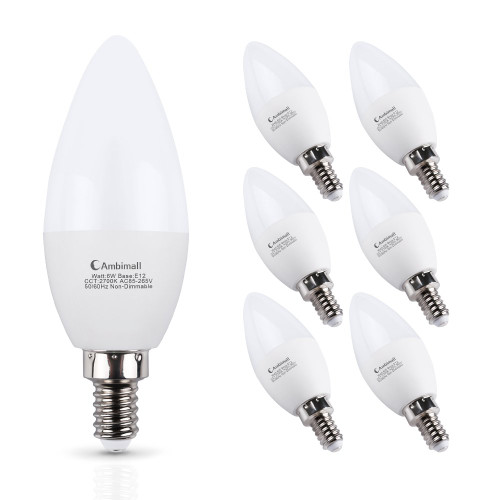 E12 LED Bulb 60Watts, Ambimall 6 Watt LED Candelabra Bulb Warm White 2700K 600Lumens Chandelier B11 LED Light Bulbs Non Dimmable for Ceiling Fan(6 Pack)