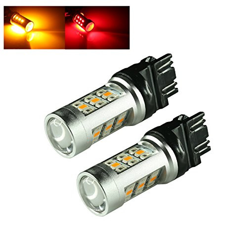 3157/7443/1157 Dual Color 3535 Chip Switchback Red/Amber 33-LED Turn Signal Light Bulbs (3157, Red/Amber)