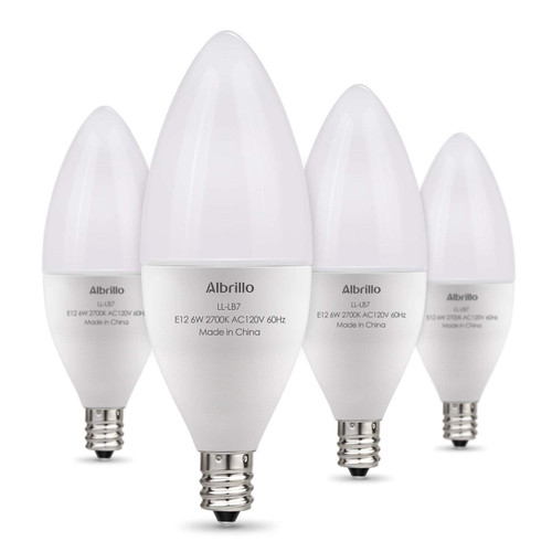 Albrillo E12 LED Bulb Candelabra Light Bulbs 6W, 60 Watt Equivalent, Warm White 2700K Chandelier Bulbs, Decorative Candle Base, Non-Dimmable, 4 Pack