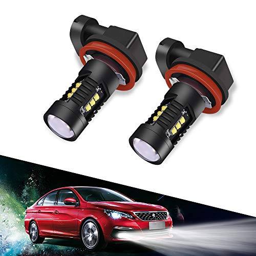 LTPAG 2pcs H11 LED Fog Lights Bulbs or DRL, 60W 2400 Lumens Automotive H8 H9 LED Fog Light Bulbs Replacement IP68 6000K Super Bright LED Driving Lights Xenon White, 2 Year Warranty