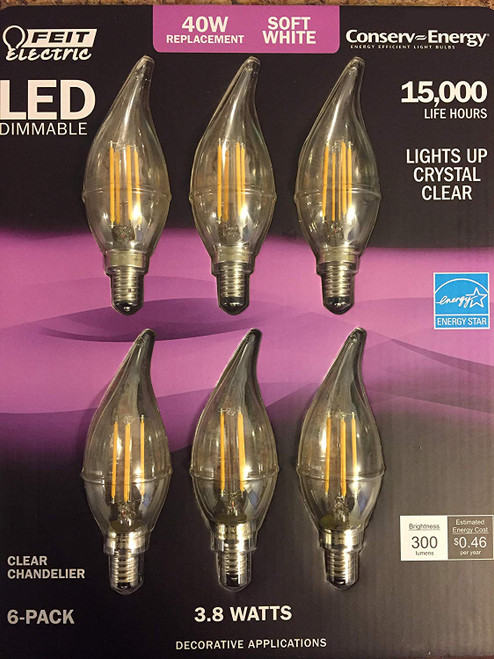 Feit - LED E12 Soft White candelabra chandelier Dimmable light bulbs 40w = 3.8w (6 pack)