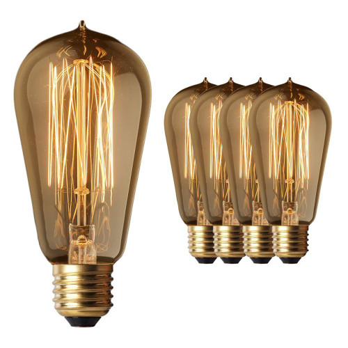 4 Pack - Old Fashion Edison Light Bulbs - Five Star Rated - 60W Vintage Squirrel Cage Filament - 120 Volts - 230 Lumens - ST58 Teardrop - Dimmable Antique Amber Lighting - Warranty Included