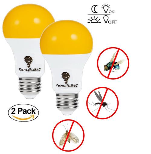 LED Dusk till Dawn Bug Light Bulbs Outdoor With Automatic Sensor Light Bulb LED 2 Pack